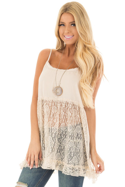 Natural Sheer Lace Slip Spaghetti Strap Top front closeup