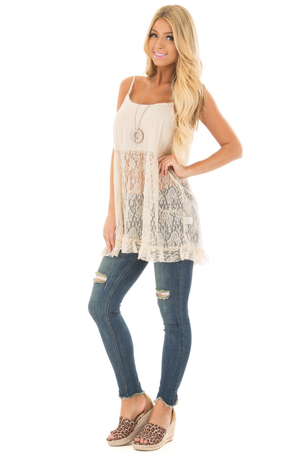 Natural Sheer Lace Slip Spaghetti Strap Top front full body