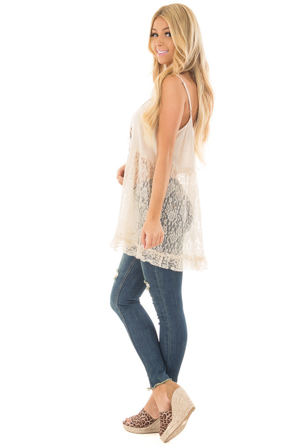 Natural Sheer Lace Slip Spaghetti Strap Top side full body