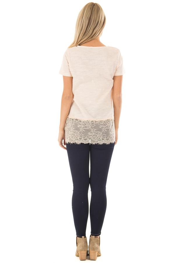 Blush Short Sleeve Top with Sheer Lace Details back full body