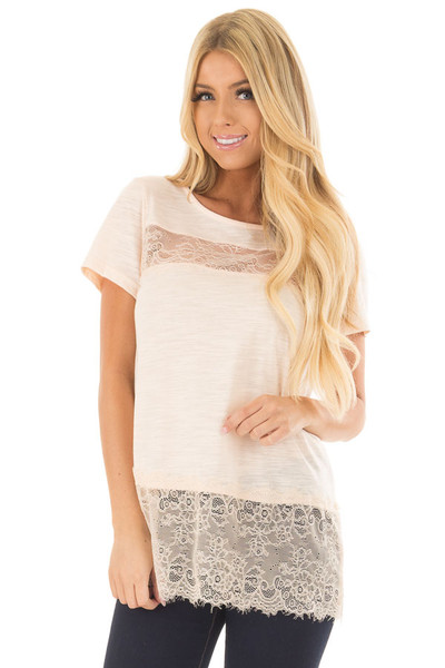 Blush Short Sleeve Top with Sheer Lace Details front closeup