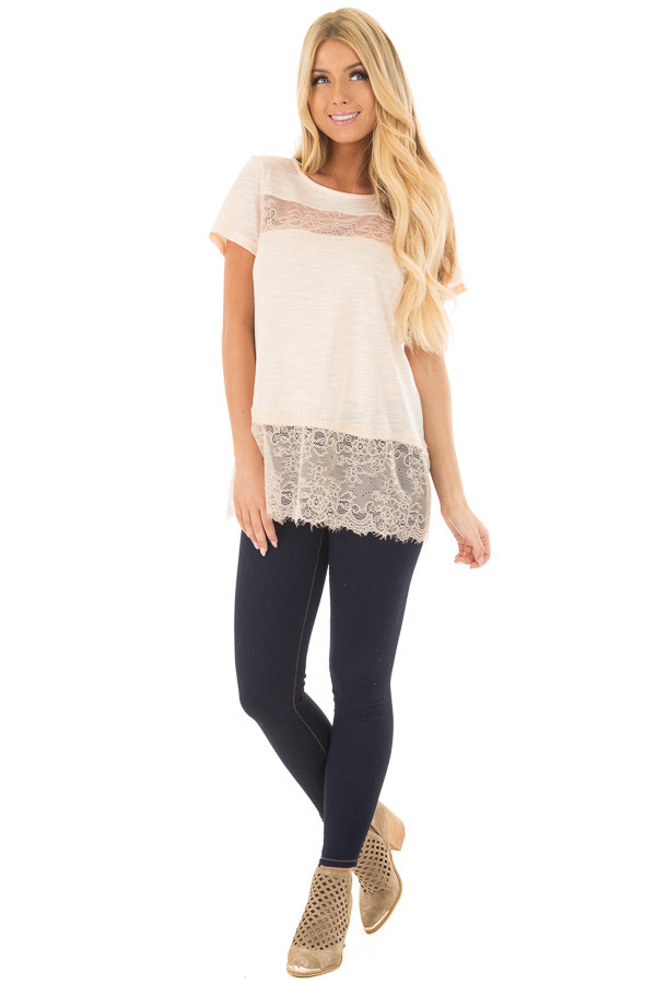 Blush Short Sleeve Top with Sheer Lace Details front full body