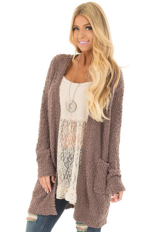 Mocha Oversized Soft Cardigan with Pockets front closeup