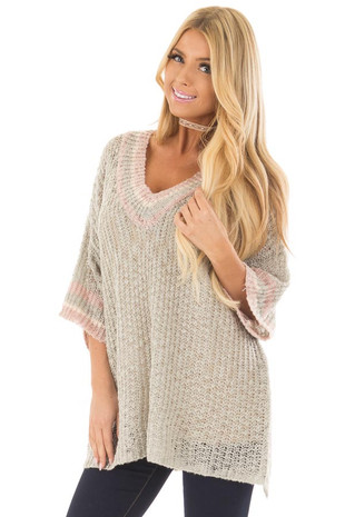 Cloud Grey Short Sleeve Sweater with Stripe Detail front closeup