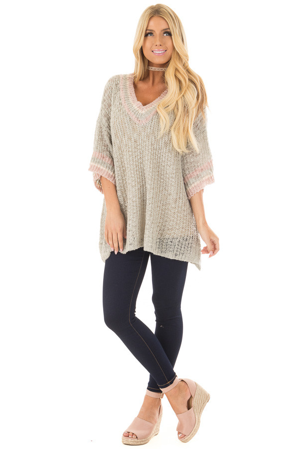 Cloud Grey Short Sleeve Sweater with Stripe Detail front full body