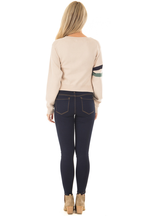 Beige Crop Sweater with Twist Front and Stripe Detail back full body
