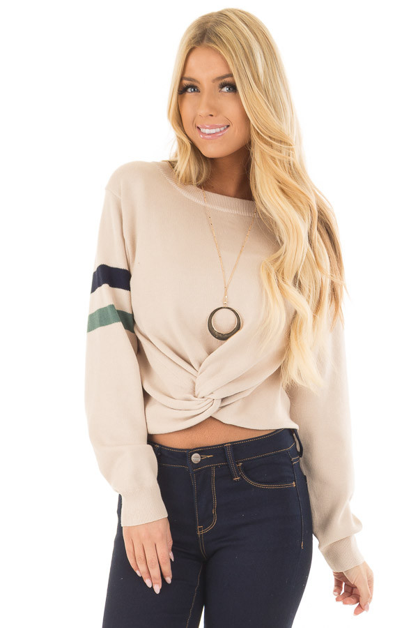 Beige Crop Sweater with Twist Front and Stripe Detail front closeup