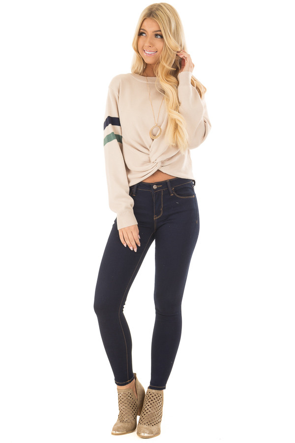 Beige Crop Sweater with Twist Front and Stripe Detail front full body