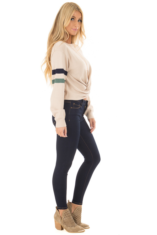 Beige Crop Sweater with Twist Front and Stripe Detail side full body