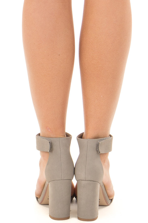 Light Grey Faux Suede Open Toe High Heels back