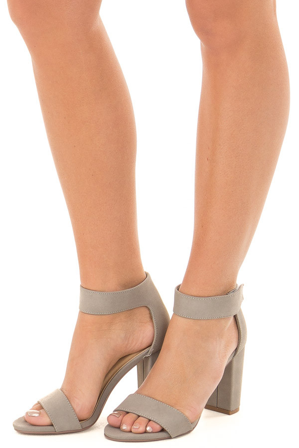 Light Grey Faux Suede Open Toe High Heels front side