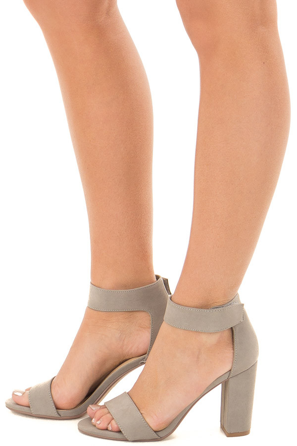 Light Grey Faux Suede Open Toe High Heels side