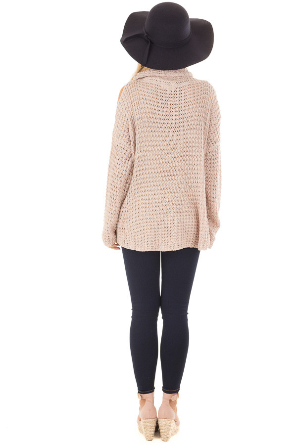Dusty Pink Open Knit Cold Shoulder Cowl Neck Sweater back full body