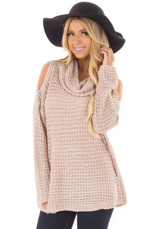 Dusty Pink Open Knit Cold Shoulder Cowl Neck Sweater front closeup