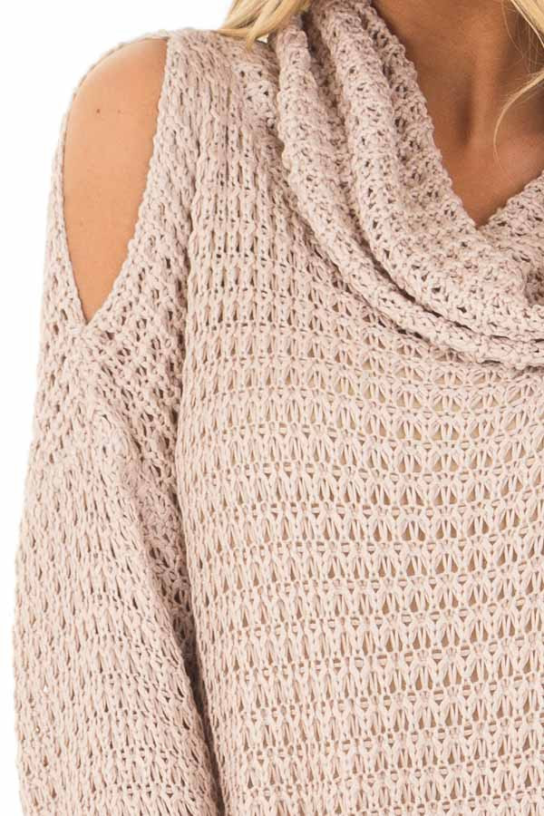 Dusty Pink Open Knit Cold Shoulder Cowl Neck Sweater front detail