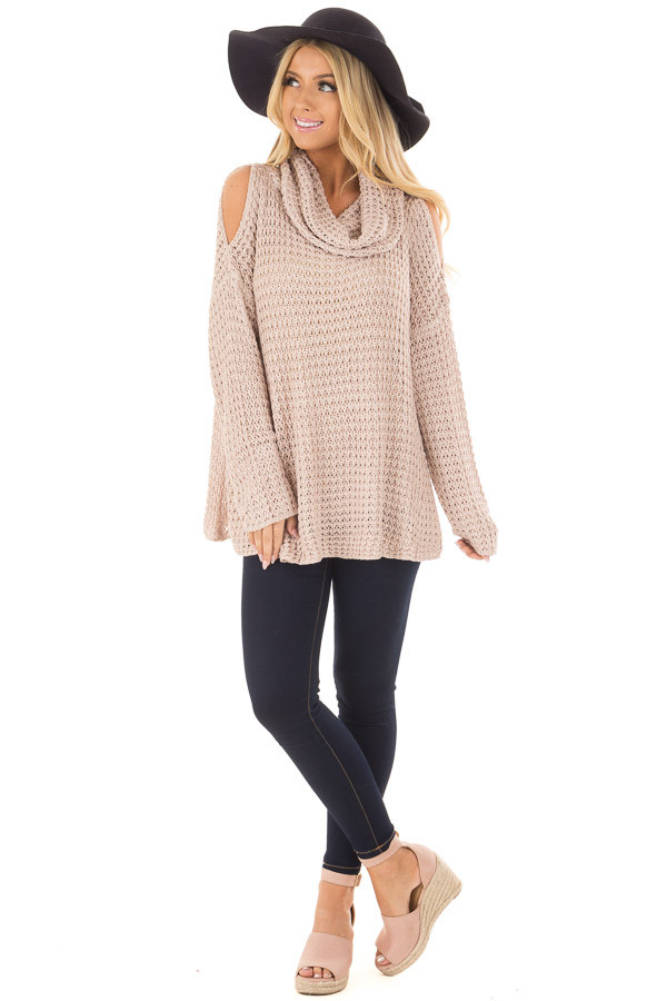 Dusty Pink Open Knit Cold Shoulder Cowl Neck Sweater front full body