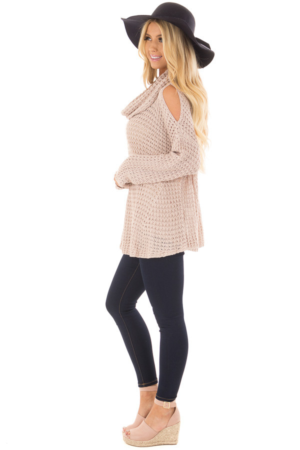 Dusty Pink Open Knit Cold Shoulder Cowl Neck Sweater side full body