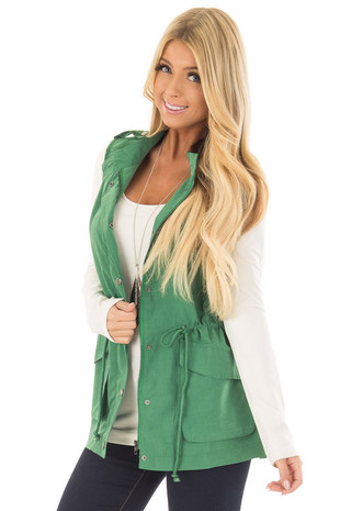 Kelly Green Zip Up Button Vest with Draw String and Pockets front closeup