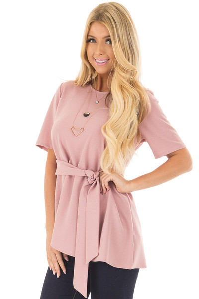 Dusty Rose Asymmetrical Top with Waist Tie front closeup