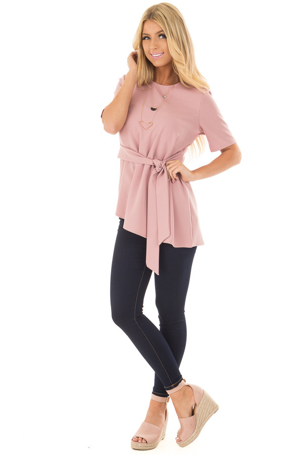Dusty Rose Asymmetrical Top with Waist Tie front full body