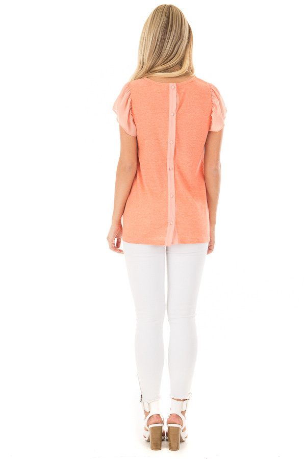 Neon Tangerine Top with Button Down Back back full body