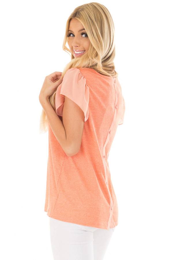 Neon Tangerine Top with Button Down Back over the shoulder closeup