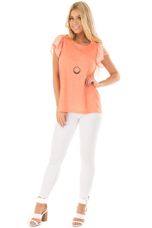 Neon Tangerine Top with Button Down Back front full body