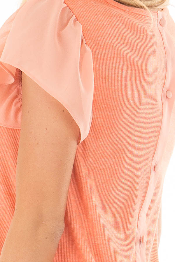 Neon Tangerine Top with Button Down Back over the shoulder detail