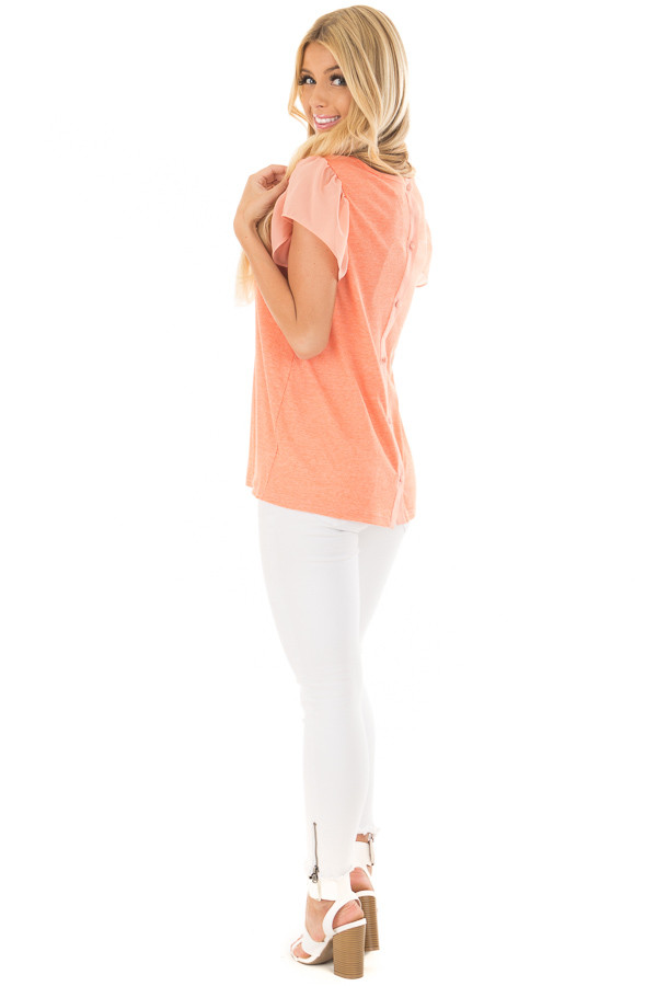 Neon Tangerine Top with Button Down Back over the shoulder full body