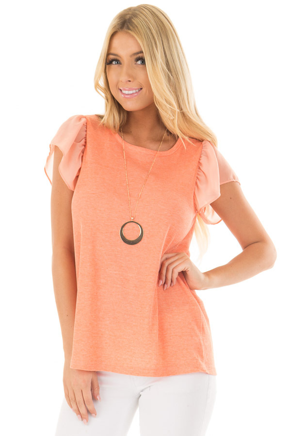 Neon Tangerine Top with Button Down Back front closeup