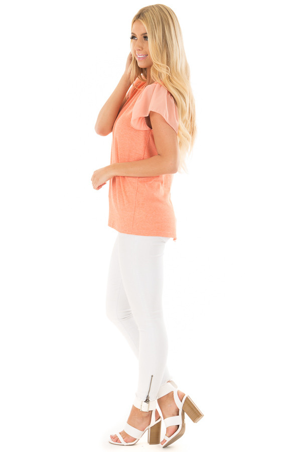 Neon Tangerine Top with Button Down Back side full body