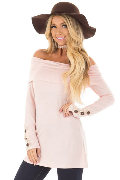 Light Pink Fold Over Off the Shoulder Top front closeup