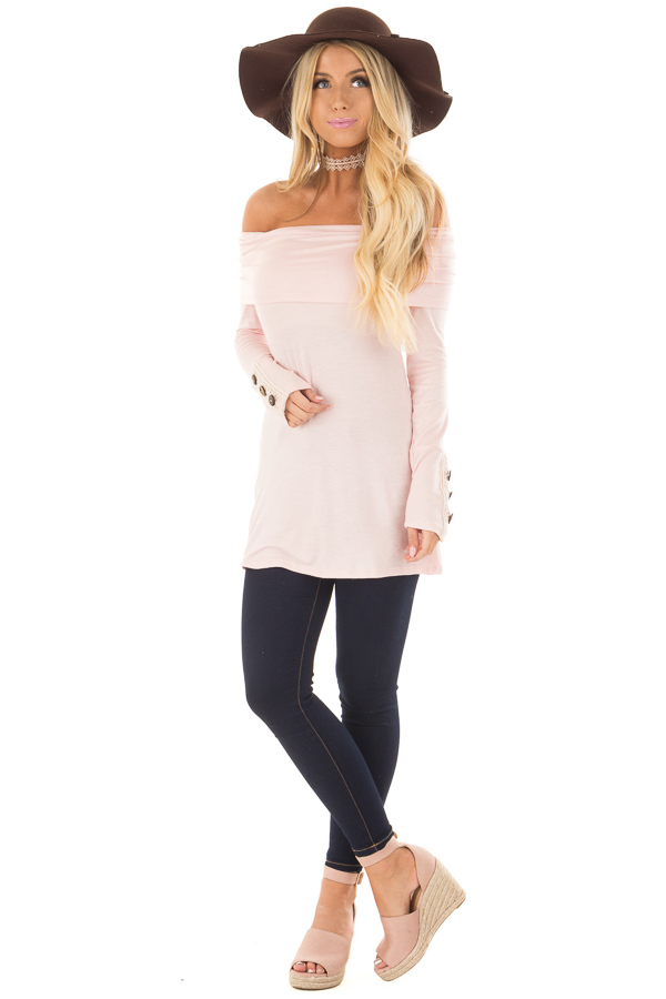 Light Pink Fold Over Off the Shoulder Top front full body