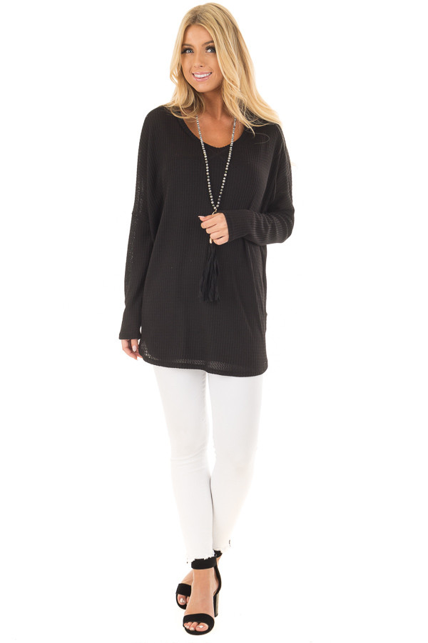 Black Oversized Waffle Knit Top front full body