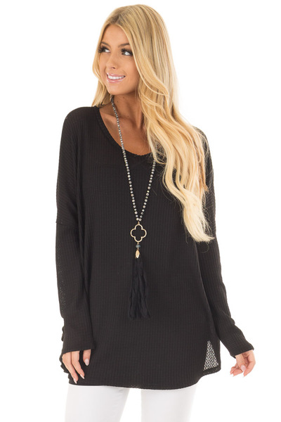 Black Oversized Waffle Knit Top front closeup