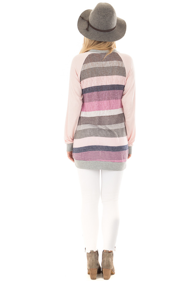 Multi Color Striped Long Sleeve Top back full body