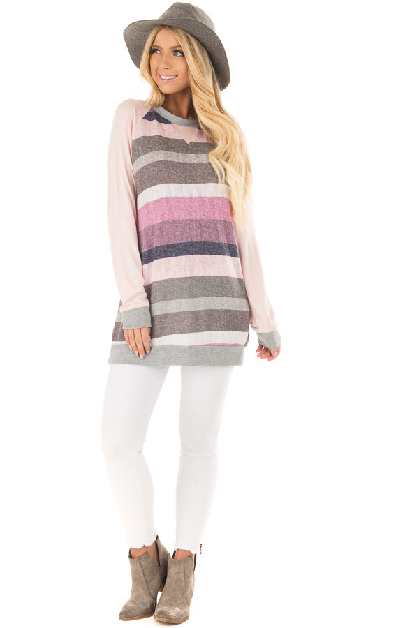 Multi Color Striped Long Sleeve Top front full body