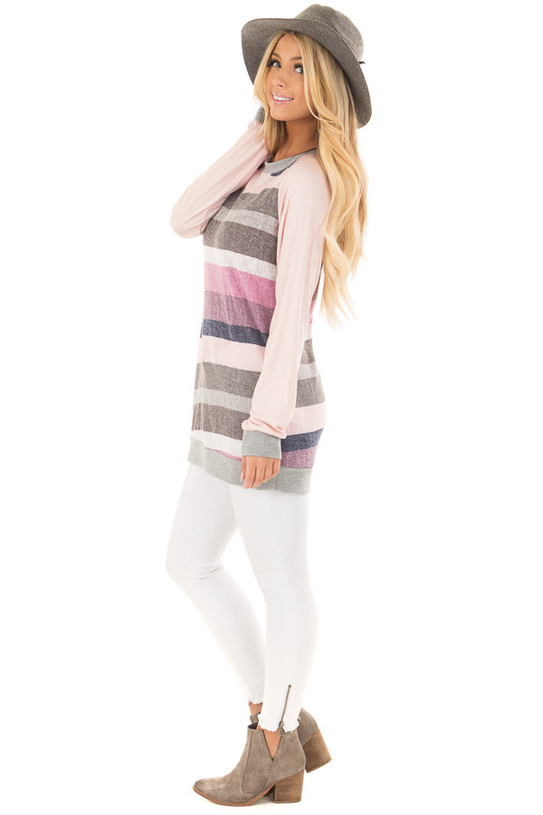 Multi Color Striped Long Sleeve Top side full body