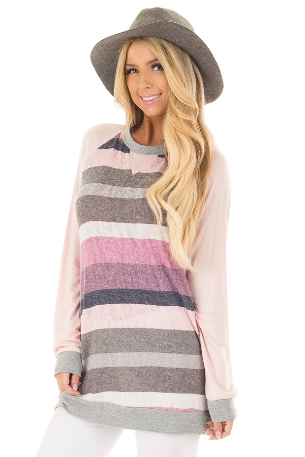 Multi Color Striped Long Sleeve Top front closeup