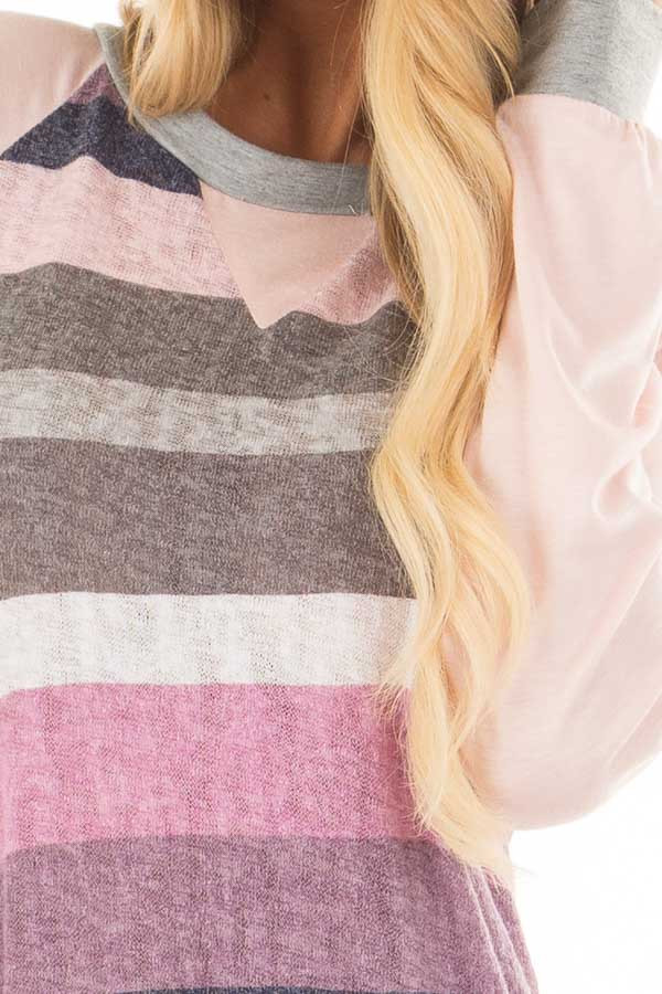 Multi Color Striped Long Sleeve Top front detail