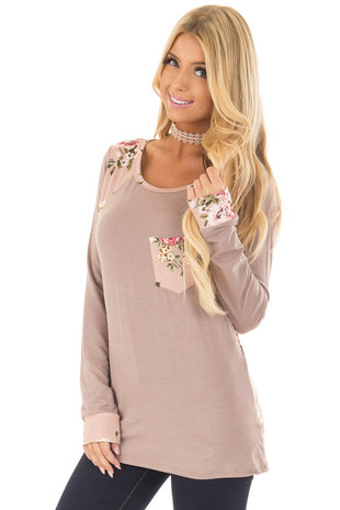 Taupe Top with Faded Pink Floral Print Contrast front closeup