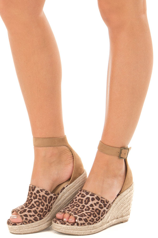 Cheetah Print and Tan Open Toe Wedge front side