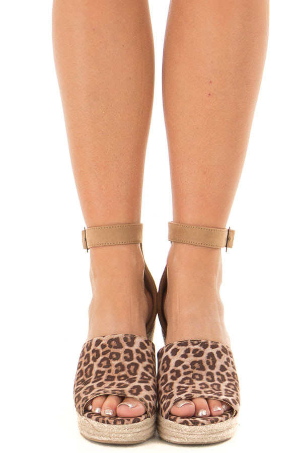 Cheetah Print and Tan Open Toe Wedge front