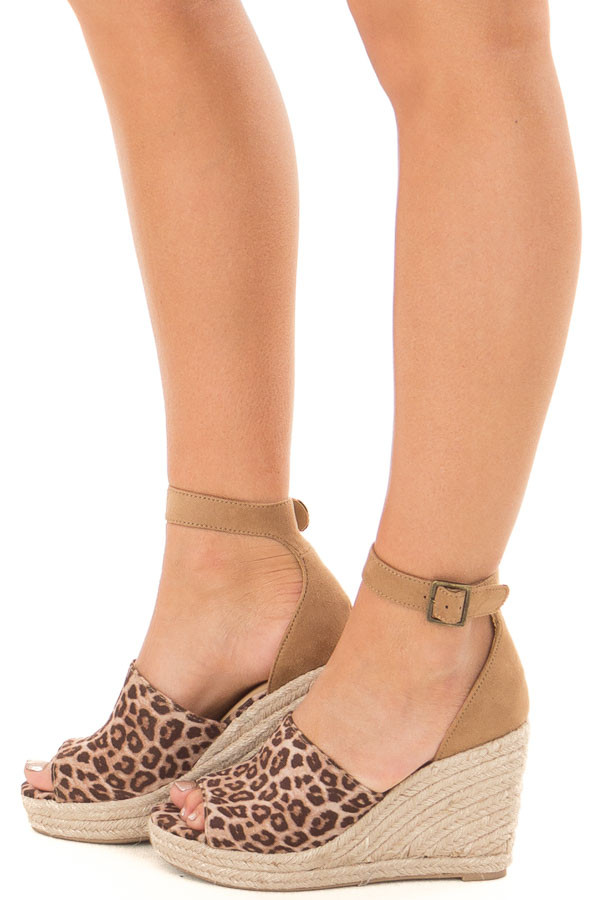 Cheetah Print and Tan Open Toe Wedge side