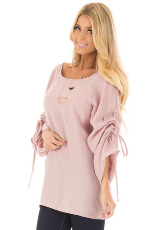 Dusty Pink Top with Adjustable Ruched Sleeves front closeup