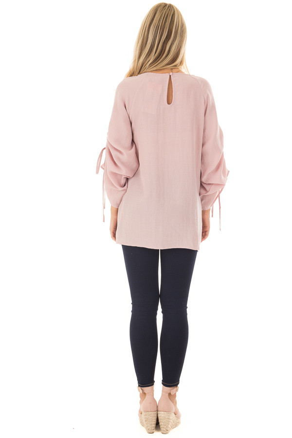 Dusty Pink Top with Adjustable Ruched Sleeves back full body