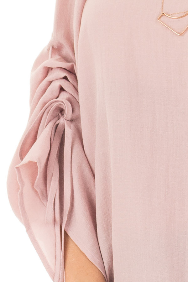 Dusty Pink Top with Adjustable Ruched Sleeves front detail