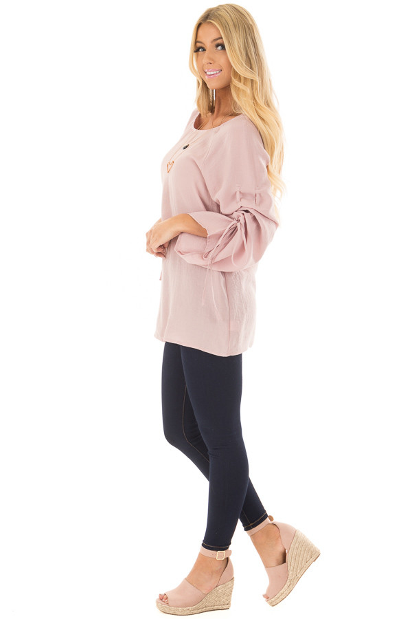 Dusty Pink Top with Adjustable Ruched Sleeves side full body