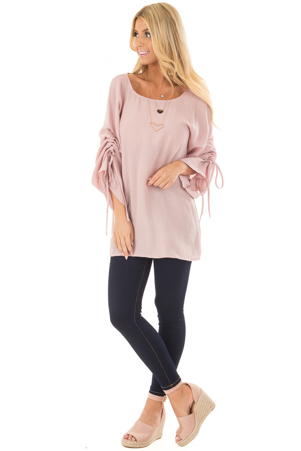 Dusty Pink Top with Adjustable Ruched Sleeves front full body