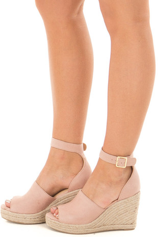 Mauve Faux Suede Open Toe Wedge side